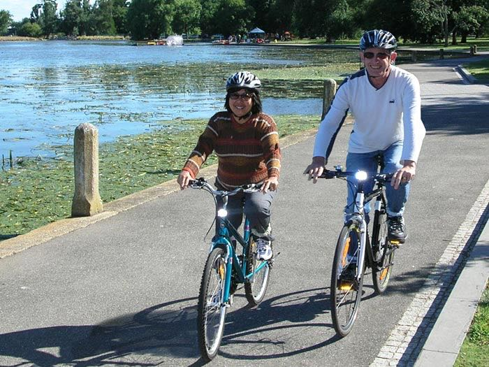 Orr and Tim Grosvenor happy couple enjoying cycling part of their healthy lifestyle